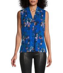 calvin klein women's floral-print top - capri multi - size m