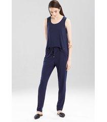 josie jersey kangaroo pants pajamas, women's, blue, size m natori