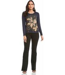 blusa manga larga estampada con flores realist