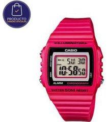 reloj casio w215h4av rosado resina mujer