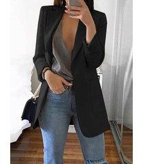 blazer con cuello de muesca en los bolsillos laterales