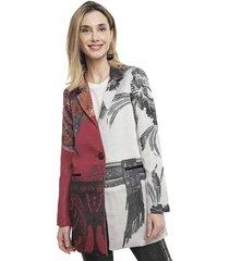 abrigo desigual multicolor - calce regular