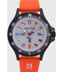 reloj naranja-blanco-negro nautica