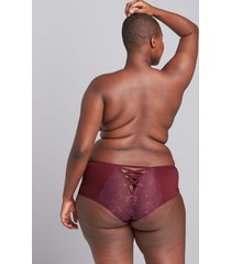 lane bryant women's mid-waist strappy-back cheeky panty 22/24 zinfandel