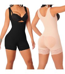 zipper  full body shaper high compression strappy waist trainer corset shapewear