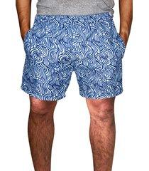 shorts ks praia microfibra estampado com bolsos laterais ref. 386a. azul