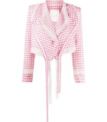 loulou cropped frayed jacket - pink