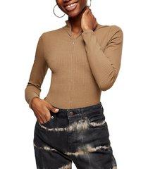 women's topshop full zip long sleeve bodysuit, size 8 us - green