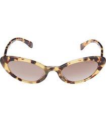 miu miu women's 53mm cat eye sunglasses - havana