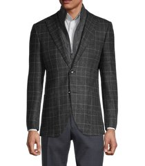 lubiam men's standard-fit virgin wool & cashmere travel jacket - dark grey - size 54 (44) r