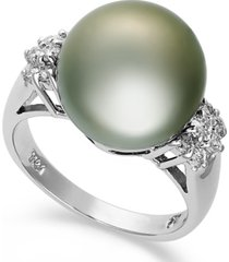 14k white gold ring, tahitian pearl (12mm) and diamond (1/4 ct. t.w.) ring