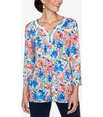 ruby rd. petite embroidered floral-print top