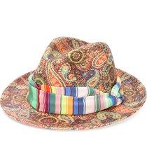 etro paisley print panama hat - gold