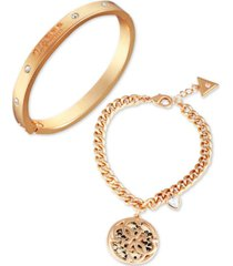 guess gold-tone 2-pc. set crystal & tan faux-leather logo bracelets