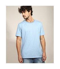 camiseta masculina básica manga curta gola careca azul claro