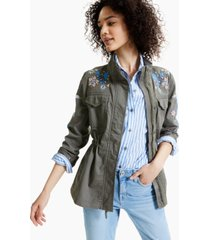 style & co petite embroidered funnel-neck jacket, created for macy's