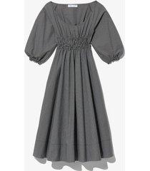 plaid puff sleeve poplin dress