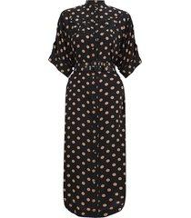 silk utility midi dress in black/tan dot