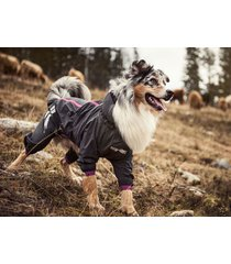 hurtta slush combat pet dog suit waterproof breathable outfit graphite/pink