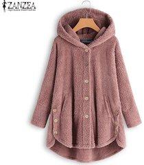 zanzea botones para mujer abrigos de polar de manga larga sudaderas con capucha cálidas para mujer -rosado