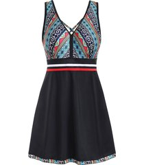 crisscross printed skirted one-piece swimsuit