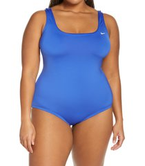 nike essential u-back one-piece swimsuit, size 1x in hyper royal at nordstrom