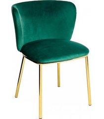 krzesło metalowe welurowe jessy ciemno zielone