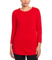 joseph a textured button-sleeve sweater