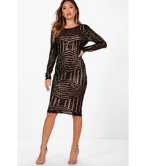 boutique mesh midi jurk met pailetten, zwart