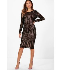 boutique sequin and mesh midi dress, black