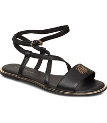 th hardware flat sandal shoes summer shoes flat sandals svart tommy hilfiger