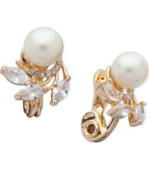 anne klein cubic zirconia & imitation pearl e-z comfort clip-on earrings
