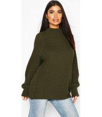 petite chunky high neck oversize sweater, khaki