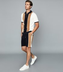 reiss travis - towelling shorts with side stripe in navy, mens, size xxl