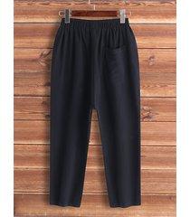 bolsillos laterales informales diseño pantalones