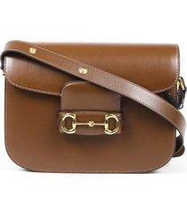 gucci horsebit 1955 crossbody bag brown calf leather brown sz: s