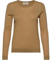 merino pullover ls stickad tröja brun rosemunde