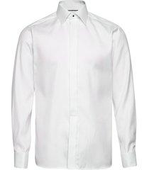 white geometrical jacquard weave shirt – french cuffs overhemd business wit eton