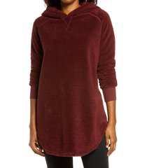 women's bp. cozy tunic hoodie, size xx-small - burgundy