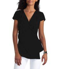 h halston ruched faux-wrap knit blouse