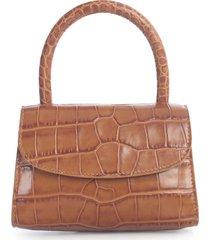 by far mini tan croco embossed leather bag