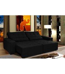 sofã¡ retrã¡til e cama com molas confort max 2,32 tecido suede velusoft preto cama inbox - incolor - dafiti
