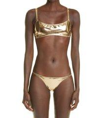 women's lisa marie fernandez kk two-piece swimsuit, size 1 - metallic