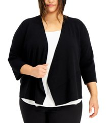 alfani plus size cozy open-front cardigan, created for macy's