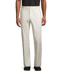 saks fifth avenue men's button front stretch-cotton pants - bone - size 30 r