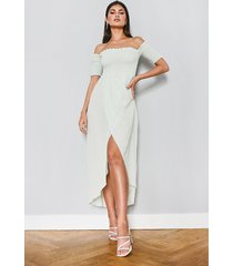 off the shoulder frill edge maxi dress, mint