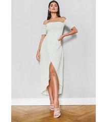 maxi jurk met franjes en open schouders, muntgroen