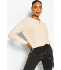 basic scoop neck sweater, stone
