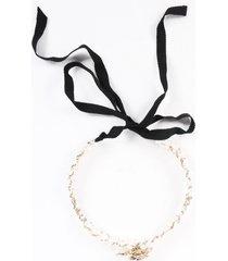 chanel faux pearl camellia choker necklace white sz:
