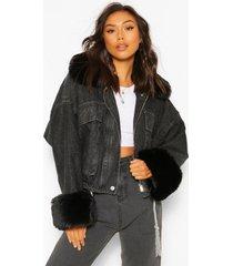 oversized spijkerjas met faux fur zoom, black